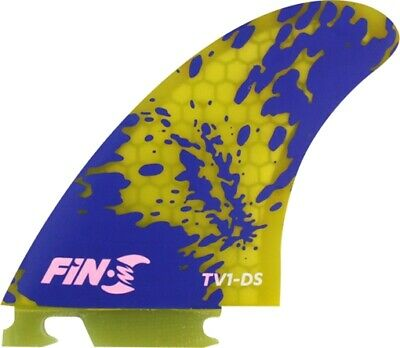 FIN-S TV-1 HONEYCOMB YELLOW BLUE 3 fins