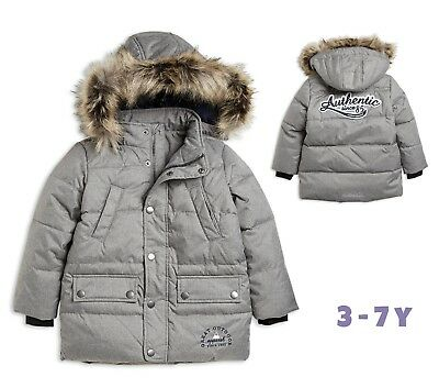 Designer Boys Coat Quilted Hooded Winter Warm School 3-4 4-5 6-7 Years RRP £42