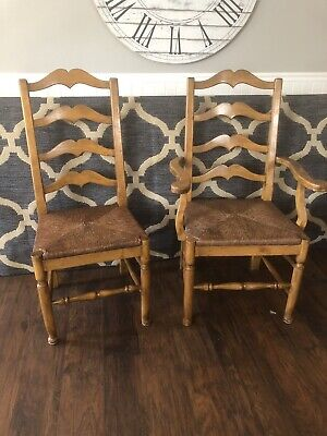 Set Of 8 Antique Style Country French Ladderback Dining Arm Chairs Rush Seats
