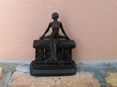 Antique Bronze Nude Woman Sitting on a Wall - Beautiful for your Desk or Shelf