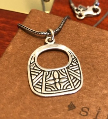 Silpada Sterling Silver Hand Etched Basket Necklace Cross Hammered RARE N1929