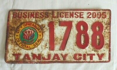Rare - Tanjay City - Business License Plate - 2005 - Pilipinas - Philippines