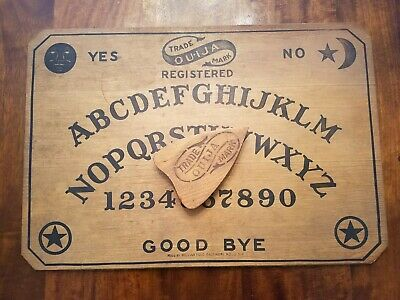 RARE Antique early 1900s wooden Ouija Board William Fuld VINTAGE & Planchette