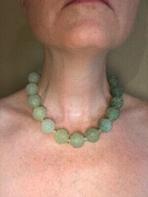 "Graduated In Color Shade Carved Jade Shou Bead Necklace Gorgeous Pc! 18"" Choker"