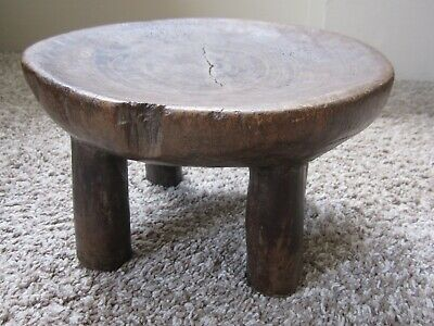 Antique African heavy hand carved patinated wooden tribal folk art stool