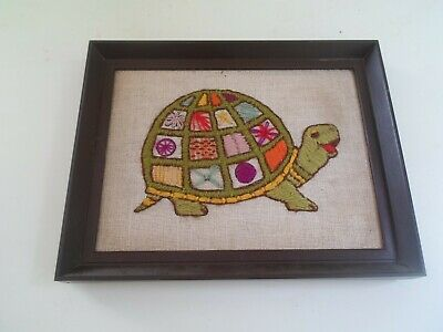 Cute Colourful Tortoise Wool Embroidery - Framed
