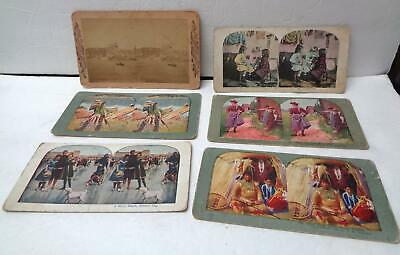 6 Vintage Late 19th/Early 20th Century Stereoscope Cards LOT! Chief Blackhawk!