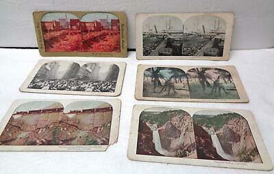 6 Vintage Late 19th/Early 20th Century Stereoscope Cards LOT! SF Earthquake!