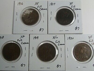 5 Year Run XF Canadian Large Cents with Full Crowns: 1916-1920.  #12