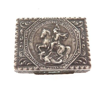"""Vintage .800 Silver """"St George Slaying The Dragon"""" Theme Pill / Snuff Box."""