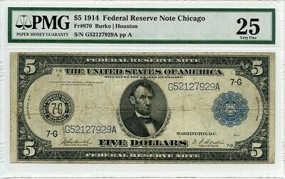 FR. 870 1914 Blue Seal $5 PMG Very Fine 25 - Federal Reserve Notes - Large