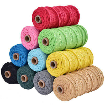 3mmx100m Crafts Macrame Cord Twisted Cotton Rope DIY String Braided Rope Colored