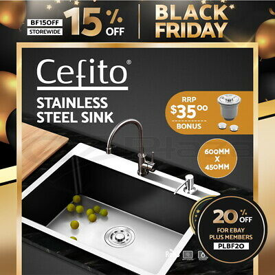 Cefito Stainless Steel Kitchen Sink 600x450MM SIngle Bowl Sinks Laundry Strainer