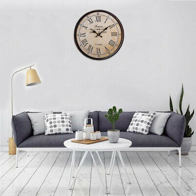 40cm 16 Inch Wooden Large Round Wall Clock Big Roman Numerals Art Home Decor
