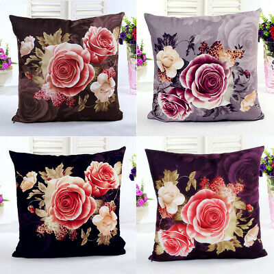 Elegant Printing Dyeing Peony Pillow Case Cushion Cover Sofa Bed Home Decor Gift