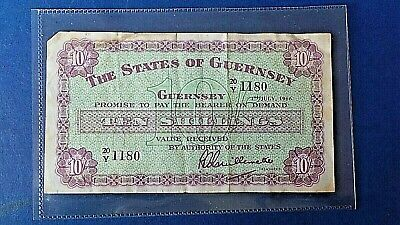 Guernsey Channel Island Ten Shilling Note 1966 Creases & Stain 20Y 1180