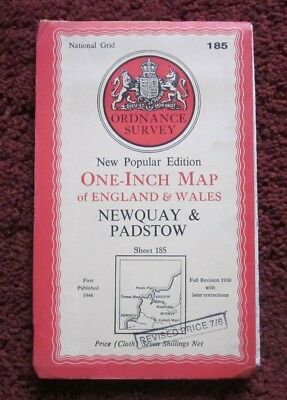 Newquay & Padstow  - Ordnance Survey One-Inch Cloth Map . Sheet 185  , 1946    #