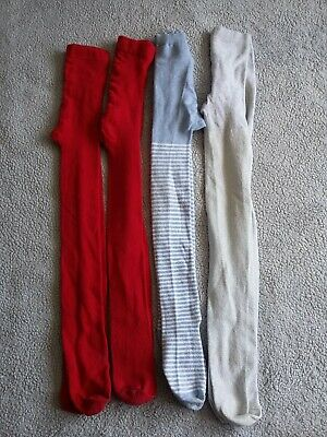 Girls Tights 7 - 8 Years - Red Silver & Blue Stripes
