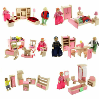 Wooden Dolls House Furniture Miniature Room For Kids Children Toy Gifts Girl