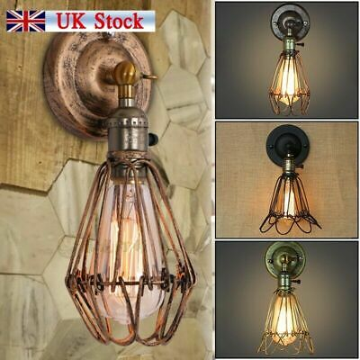 Retro Antique Industrial Iron Bird Cage Wall Light Up Down Bar Sconce Lamp