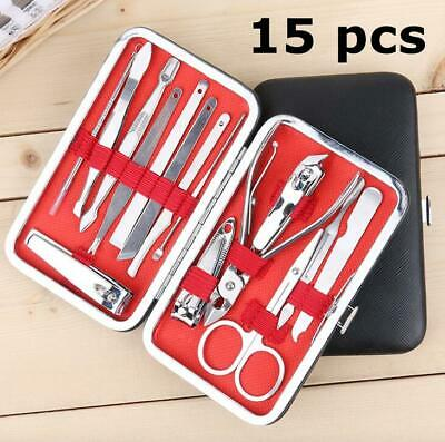15 PCS Pedicure Manicure Set Nail Clippers Ear Cleaner Cuticle Grooming Kit Case