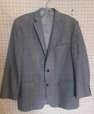 Calvin Klein Grey Blue Plaid Blazer Jacket Coat 2 Button Wool/Silk Mens Size 42R