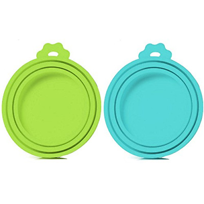 2 Pack Pet Food Can Cover Universal Silicone Cat Dog Food Can Lids 1 Fit 3