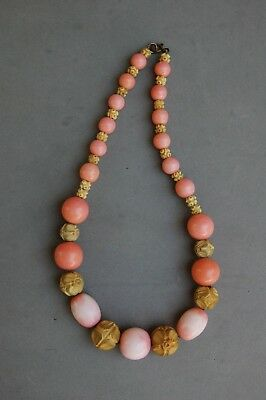 """Carved Galalith & Faux Coral Glass Bead Necklace Vintage on Chain 18"""" Antique"""