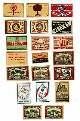 20 Old Italy c1900s matchbox labels Three Palms Brand & Various themes