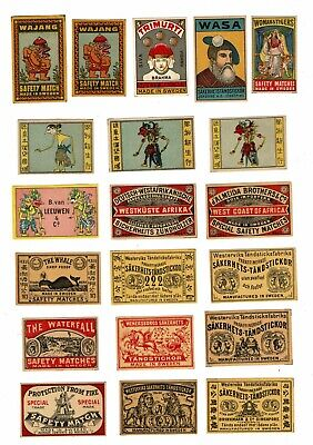 20 Old Sweden c1900s matchbox labels The Whale & Various themes