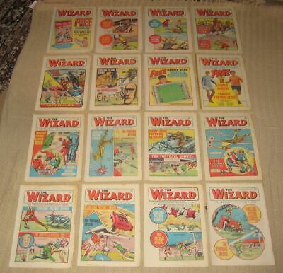 Lot of 16 x Vintage Issues THE WIZARD Comic 1970 & 1971
