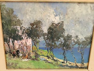 """Mario Maresca oil painting panel listed signed Picnic By the Sea 15.5x19.5"""""""