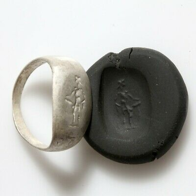 Late Hellenic Period Silver Seal Ring Depicting Phallic Statue Circa 50 Bc