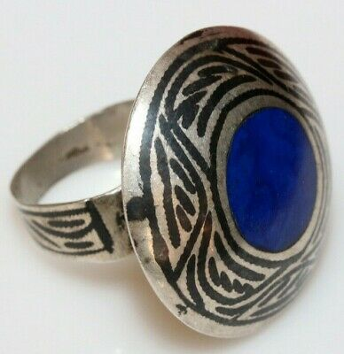 A Perfect Luristan Silver & Niello Ring With Nice Blue Stone Circa 1500 Ad-Larg
