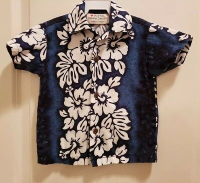 Royal Hawaiin Creations Button Down Shirt Boys Size 1 Short sleeve Blue Toddler