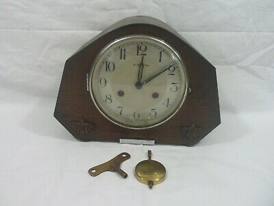 VINTAGE WOODEN PENDULUM MANTLE CLOCK WITH KEY (Working)