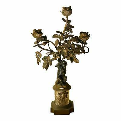 Antique Bronze Nude Figural Candelabra