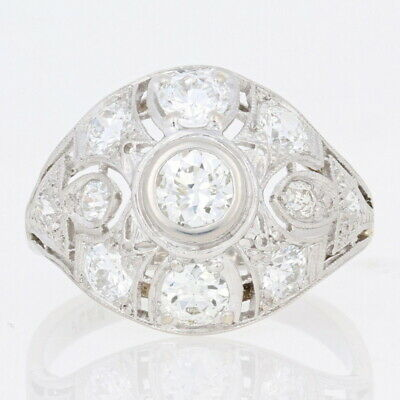 2.12ctw European Cut Diamond Art Deco Ring - Platinum Vintage Milgrain 6 3/4 - 7