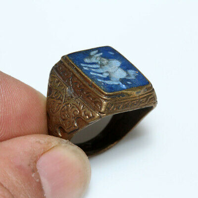 Post Medieval - Intact Near East Bronze Seal Ring With Intaglio Stone Lapis Lazu