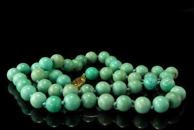 Old Chinese Blue Turquoise Beads Gilt Dilver Necklace D117-03
