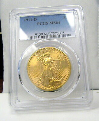 1911-D Double Eagle $20 St. Gaudens Gold Coin - PCGS Graded MS64