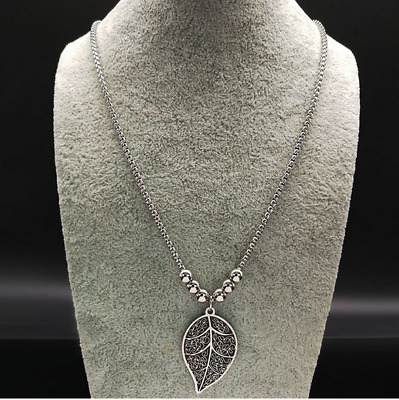 Stainless Steel Leaf Chain Necklaces for Women Long Bead Necklaces Pendants
