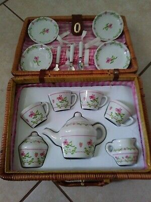 Antique mini tea cup set with wicker basket