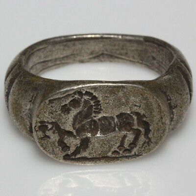 Extremely Rare Early Roman Republic Silver Seal Ring Circa 100-50 Bc