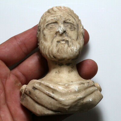 Extremely Rare Roman Marble Male Bust Circa 100-400 Ad