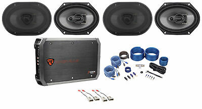 """Rockville 6x8"""" Factory Speaker Replacement+4-Ch Amp For 2004 Ford F-150 Heritage"""