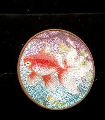 Vintage Jewelry Antique Asian? Signed  Guilloche Enamel Koi Fish Pin Damaged