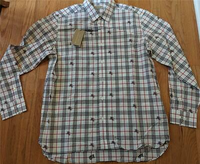 "$350 Mens Burberry ""Edward"" Plaid Checked LS Button Up Shirt Natural White 2XL"