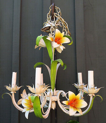 Vintage Italian / French Tole 5 Light Chandelier Leaf Metal Flowers Lilies Lily