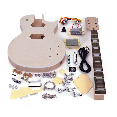 LP Style Unfinished DIY Electric Guitar Body Kit 22 Frets Neck 6 String A7P9